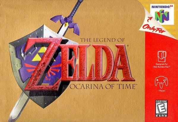 The Legend of Zelda: Ocarina of Time game cover for nintendo 64